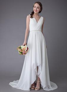Vestidos De Casamento 2021 De Praia Chiffon Decote Em V Alta Baixa Sash Summer Bridal Vestido