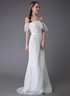 Vestidos De Casamento 2021 De Renda Boho Fora Do Ombro Vestido De Noiva Vestidos De Casamento De Verão Da Praia