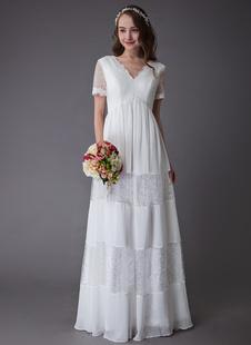 Vestidos De Noiva Boho 2021 Rendas Chiffon Retalhos Marfim Manga Curta Gypsy Maxi Praia Vestidos De Noiva