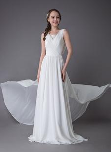 Vestidos De Noiva 2021 De Praia Chiffon Marfim Decote Em V Cowl Voltar Verão Praia Vestidos De Noiva