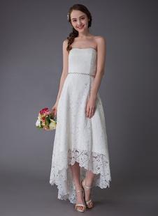Vestidos De Casamento 2021 Curtos Lace Alta Low Strapless Sash Vestido De Noiva Assimétrico