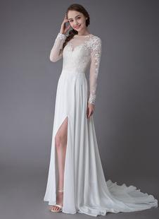 Vestidos De Casamento 2021 Manga Comprida Lace Chiffon Sexy Alta Split Ilusão Vestidos De Noiva De Verão