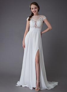 Vestidos De Noiva 2021 De Praia Marfim Sexy Vestido De Noiva Lace Chiffon Alta Dividir Vestidos De Noiva