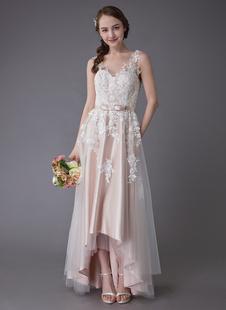 Vestidos De Casamento 2021 Laço De Alta Baixa Faixa Arco Apliques De Tule Verão Praia Vestidos De Noiva Colorido