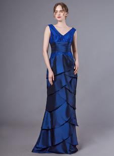 Abiti per la madre della sposa Abiti con scollo a V in taffetà blu royal