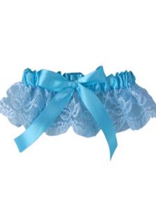 Blue Bow Lace Terylene Ribbon Wedding Garter