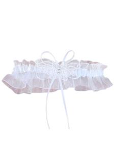 White Lace Bow Terylene Satin Gauze Wedding Garter