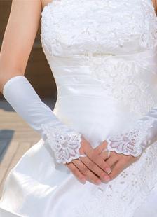 White Fingerless Lace Wedding Gloves