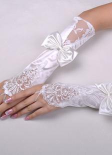 Ivory Bow Fingerless Wedding Gloves