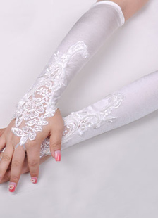 Lace Fingerless Wedding Gloves With Embroidered