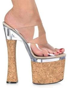 Zapatillas con plataforma de madera de tacón alto de estilo sexy
