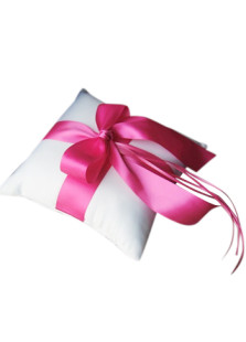 Bianco raso rosa Bow Ring Pillow