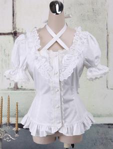 Белый хлопок Лолита блузка короткие рукава шеи ремни кружева отделка оборками