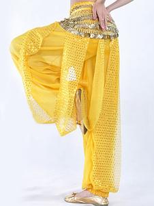 Calças de dança do ventre Womens Viscose Bloomer padrão amarelo
