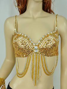 Costume Carnevale Top di danza del ventre di carriera con canotta con regiseno di giallo oro in microfibra per donne