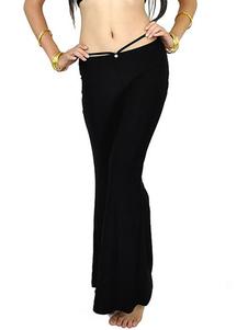 Calças pretas de dança do ventre de mistura de algodão Rhinestone Womens