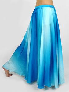 Gradual azul seda Womens Belly Dance Skirt