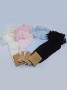 ロリィタ靴下 ホワイト 綿混紡 人気