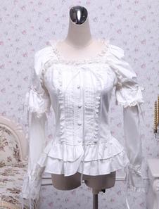 Белый хлопок Лолита блузка длинные рукава площади шеи кружевной отделкой слоистых оборками кружево лук