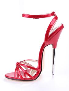 Красные сексуальные ботинки Женщины с открытым носком узловатые лакированные ботинки на высоком каблуке