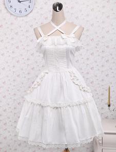 Чистый белый хлопок Лолита перемычки юбка Кружева отделкой кружево вверх оборками