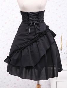 لوليتا القوطية كورونا اللباس الأسود الكشكشة الرباط الخصر عالية تصل لوليتا تنورة