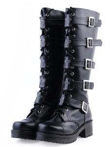 Scarpe da Lolita nero in PU con fibbie e tacco spesso al ginocchio