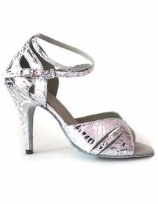 Prata metálico Ankle Strap PU Latin sapatos de mulher