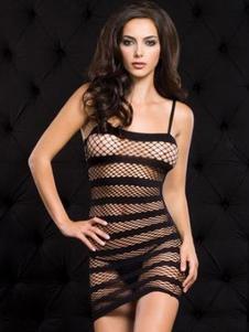 Vestido do clube da mulher do Nylon listra calha Black