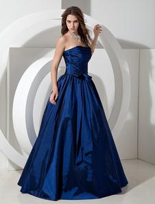 Vestido de Dama de Honor 2020 Largo Royal Azul Tafetán Vestido de Noche Longitud de Piso sin Tirantes A Línea Plisado Vestido Prom