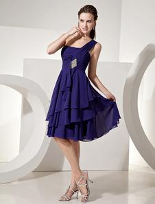 Vestido de damas de honor de chifón Azul morado con escote a un solo hombro sin mangas con capas hasta la rodilla