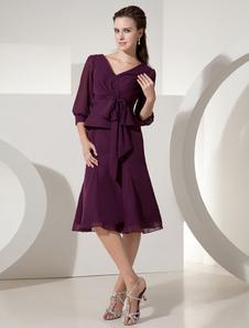 Грейс винограда шифон v-образным вырезом половины рукав лук мать невесты платье