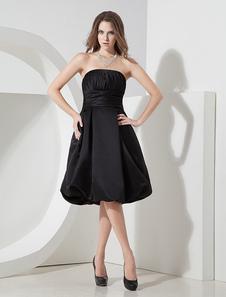ミディアムドレス ブラック Aライン ひざ丈 ストラップレスネック ノースリーブ プリーツ