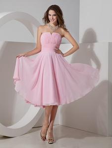 Vestido de damas de honor de chifón rosado sin tirantes