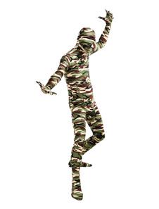 Costume Carnevale Classico Camouflage Lycra Spandex Full Body Suit Zentai