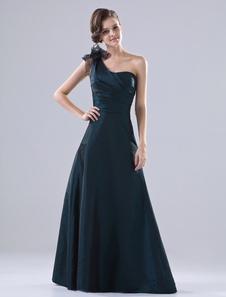 damas solo un escote Azul de de de a con Vestido hombro honor tinta tafetán sin q54xZw7RnT