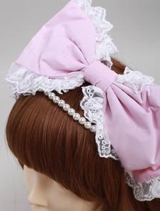 Rosa cotone perle bella Lolita copricapo