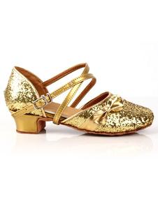 Zapatos brillantes de bailes latinos de PU dorado de estilo dulce