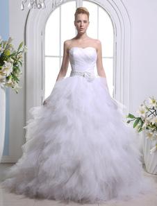 Vestido de casamento nupcial líquido branco a linha Strapless arco