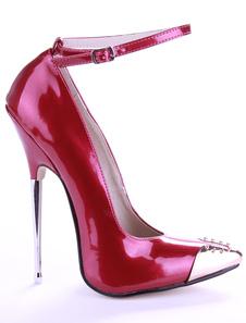 Бордовый лакированная кожа горный хрусталь сексуальный высокие каблуки для женщин