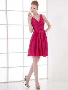 Vestido de damas de honor de satén elástico Rosa caliente con cuello en V sin mangas con adorno arrugado mini
