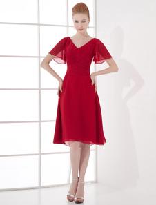 ミディアムドレス ワインレッド Aライン ひざ丈 Vネック 半袖  ウェディング ゲスト ドレス