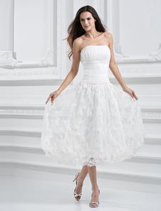 Слоновой кости Brocade органзы без бретелек чай длины свадебное платье