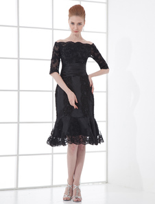 Великолепный черный Bateau шеи кружева колено-Русалка платье