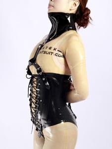Disfraz Carnaval Corsé unisex de látex negro con cordones Halloween Carnaval
