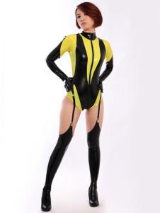 أسود مطاط Catsuit أصفر سبليت المرأة