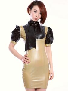 Bloqueio Puff luva curta Latex vestido das mulheres de cor Halloween