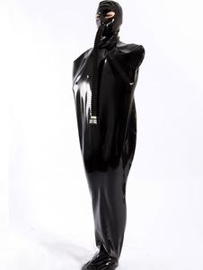 Macacão de látex unissex preto original Halloween