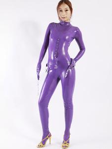 Legal o macacão de látex roxo feminino Halloween