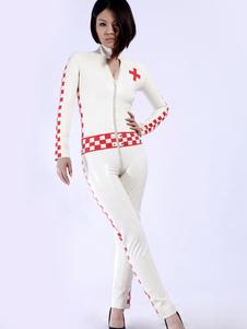 Branco Latex Catsuit da mulher enfermeira Halloween